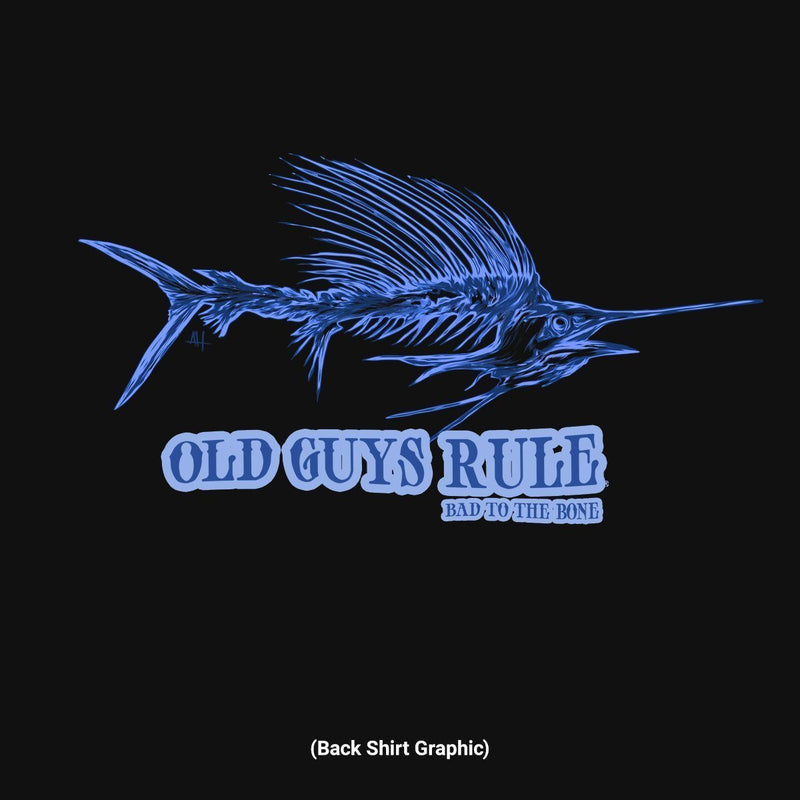 Old Guys Rule - Bad Sailfish - Black Pocket T-Shirt - Main View