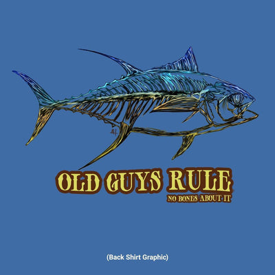 Old Guys Rule - No Bones Tuna - Iris T-Shirt - Back Design