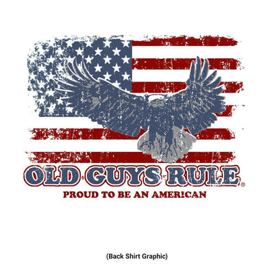 Old Guys Rule - Eagle Flag - White Pocket T-Shirt - Back Design