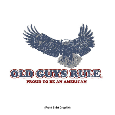 Old Guys Rule - Eagle Flag - White Pocket T-Shirt - Front Design