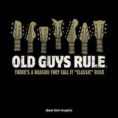 Old Guys Rule - Classic Rock - Black T-Shirt - Back Design