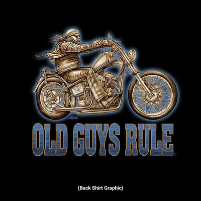 Old Guys Rule - Easy Rider - Black T-Shirt - Back Design