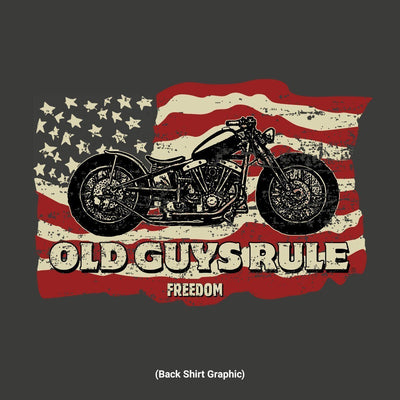 Old Guys Rule - Freedom Ride - Charcoal T-Shirt - Back Design