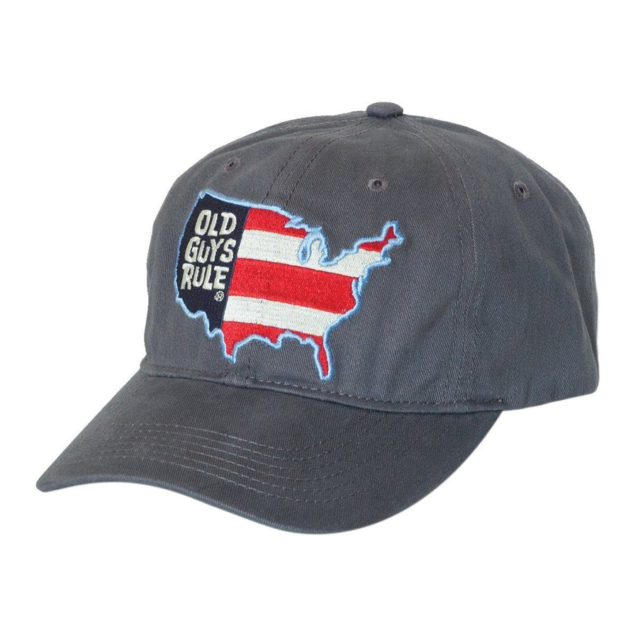 Old Guys Rule - American Flag - Charcoal Hat - Front 138ccd6ab397