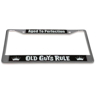 Old Guys Rule - Aged To Perfection License Plate Cover - Tilted View