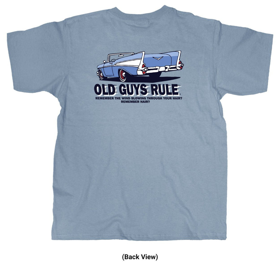 Old Guys Rule - Wind In Hair - River Blue T-Shirt - Main View