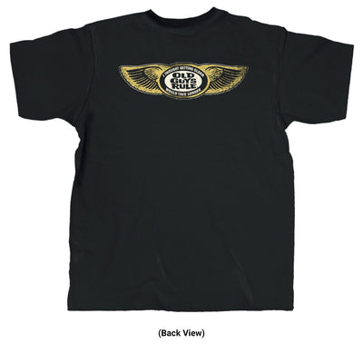 Old Guys Rule - Take Longer - Black T-Shirt - Back