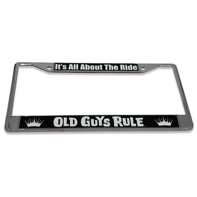 Old Guys Rule - It's All About The Ride License Plate Cover - Tilted View