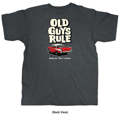 "Old Guys Rule - Putting the ""Class"" in Classic - Charcoal T-Shirt - Back"