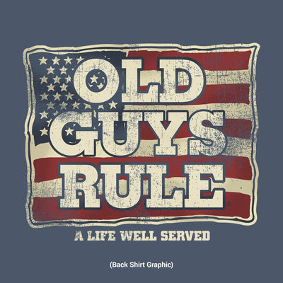 Old Guys Rule - A Life Well Served - Navy Heather T-Shirt - Back Design