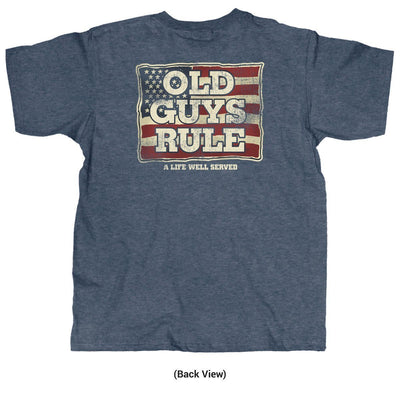 Old Guys Rule - A Life Well Served - Navy Heather T-Shirt - Back