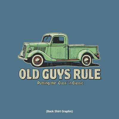 Old Guys Rule - Classic Truck - Heather Indigo T-Shirt - Back Design