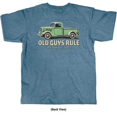 Old Guys Rule - Classic Truck - Heather Indigo T-Shirt - Back