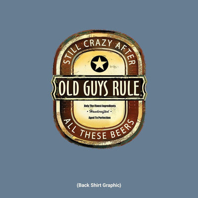 Old Guys Rule - Crazy Brew - Lake Blue T-Shirt - Front Design