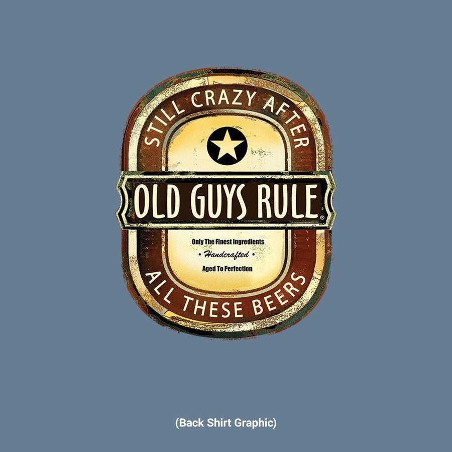 Old Guys Rule - Crazy Brew - Lake Blue T-Shirt - Main View