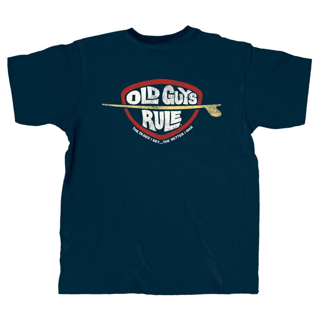 Old Guys Rule - Older I Get Surfing - Navy Heather T-Shirt - Main View