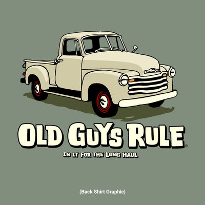 Old Guys Rule - In For The Long Haul - Heather Military Green T-Shirt - Back Graphic
