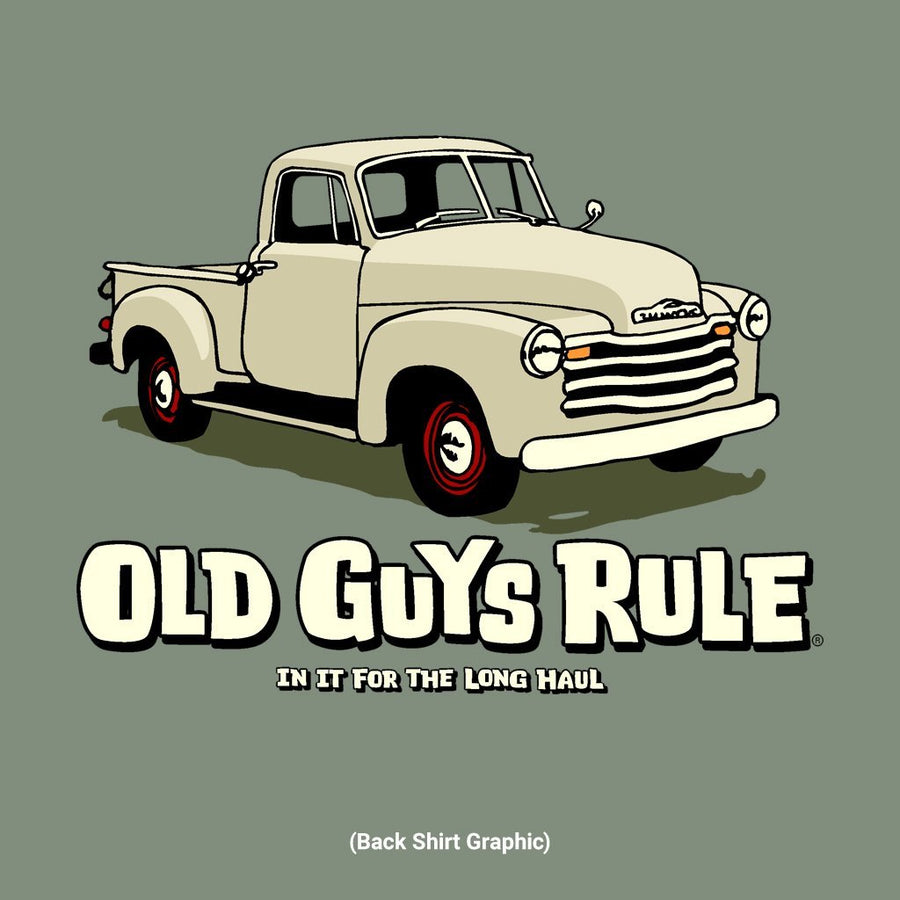 Old Guys Rule - In For The Long Haul - Heather Military Green T-Shirt - Main View