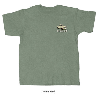 Old Guys Rule - In For The Long Haul - Heather Military Green T-Shirt - Front View