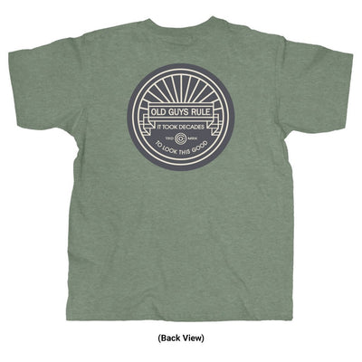 Old Guys Rule - It Took Decades - Heather Military Green T-Shirt - Back View