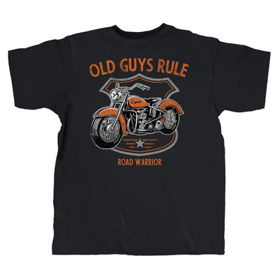 Old Guys Rule - Road Warrior - Black T-Shirt - Main View