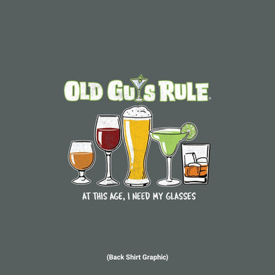 Old Guys Rule - Need Glasses - Dark Heather T-Shirt - Back Graphic