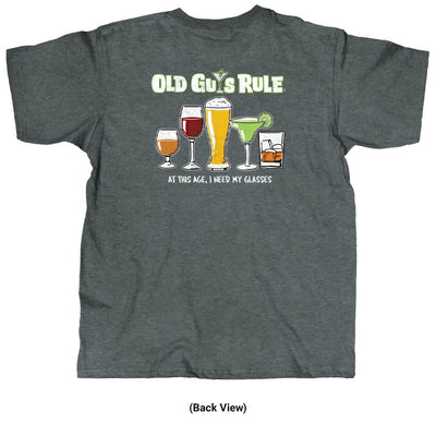 Old Guys Rule - Need Glasses - Dark Heather T-Shirt - Back View