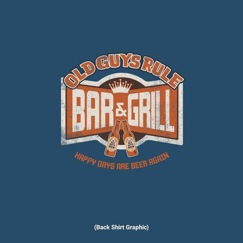 Old Guys Rule - Bar & Grill - Blue Dusk T-Shirt - Main View