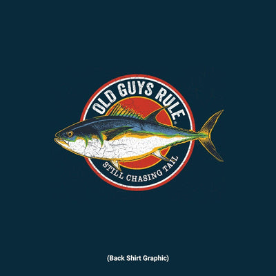Old Guys Rule - Chasing Tail - Navy T-Shirt - Back Graphic