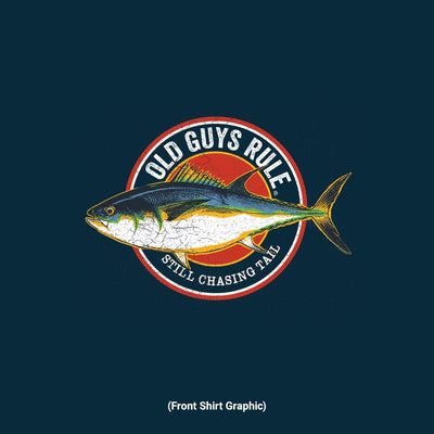 Old Guys Rule - Chasing Tail - Navy T-Shirt - Front Graphic