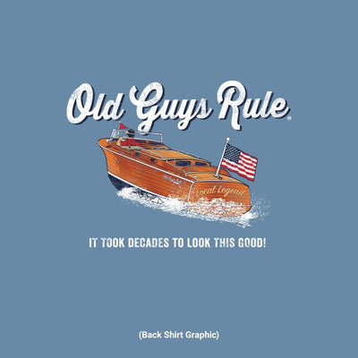 Old Guys Rule - It Took Decades - Lake Blue T-Shirt - Back Graphic
