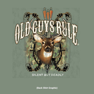 Old Guys Rule - Bow Hunter - Heather Military Green T-Shirt - Back Design