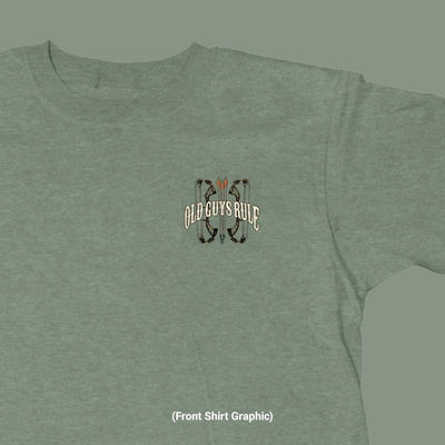 Old Guys Rule - Bow Hunter - Heather Military Green T-Shirt - Front Design