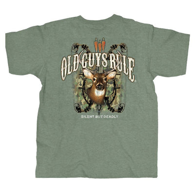 Old Guys Rule - Bow Hunter - Heather Military Green T-Shirt - Main View