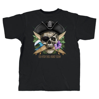 Old Guys Rule - Pirate Skull - Black T-Shirt - Main View