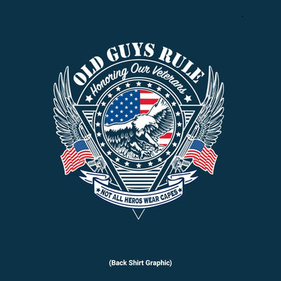 Old Guys Rule - Veteran Eagle - Navy T-Shirt - Back Graphic