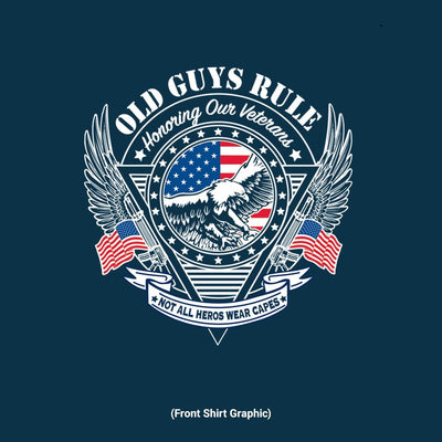 Old Guys Rule - Veteran Eagle - Navy T-Shirt - Front Graphic