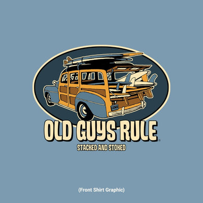Old Guys Rule - Stacked and Stoked - Stone Blue T-Shirt - Front Graphic