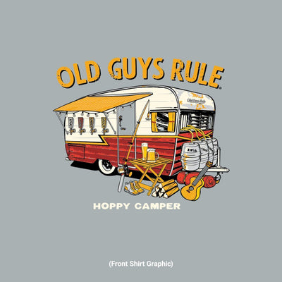 Old Guys Rule - Hoppy Camper - Sport Grey T-Shirt - Front Graphic