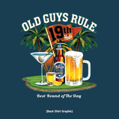 Old Guys Rule - Best Round - Navy T-Shirt - Back Graphic