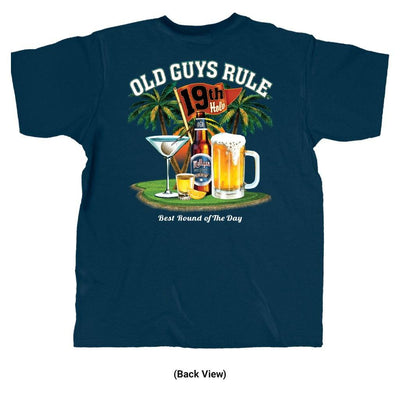 Old Guys Rule - Best Round - Navy T-Shirt - Back View