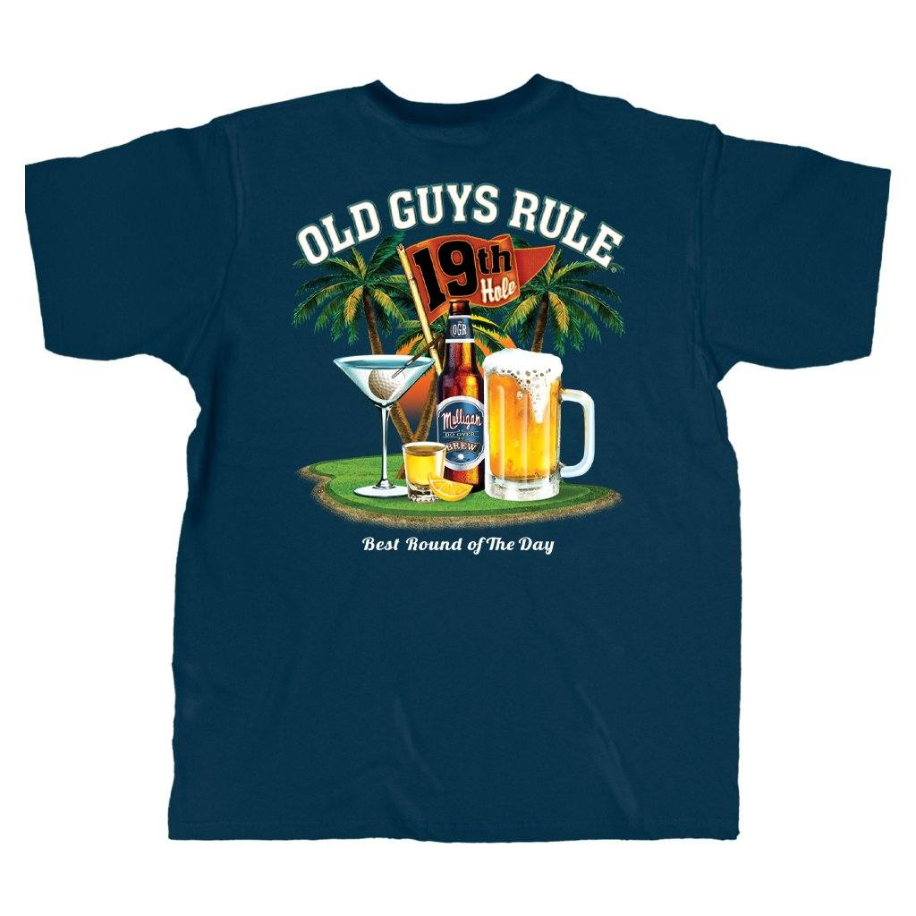 Old Guys Rule - Best Round - Navy T-Shirt - Main View