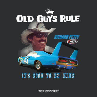 Old Guys Rule - It's Good To Be King - Black T-Shirt - Back Graphic