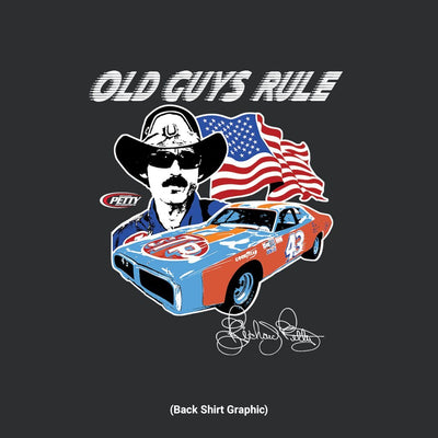Old Guys Rule - Petty Nascar - Black T-Shirt - Back Graphic