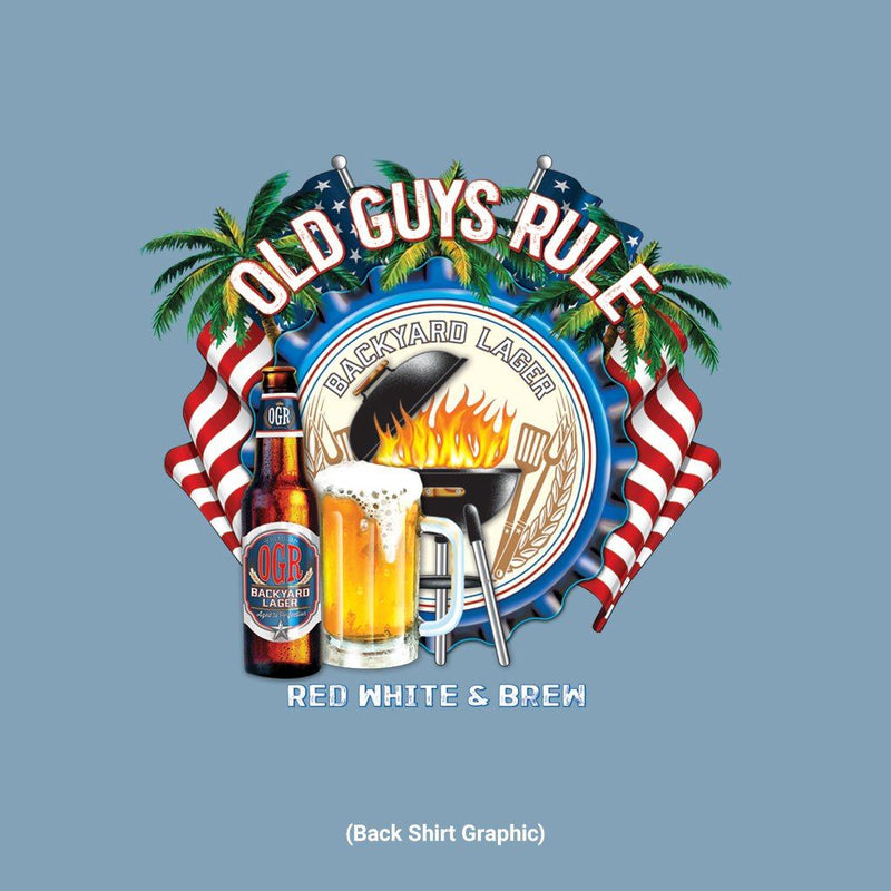Old Guys Rule - Red White & Brew - Stone Blue T-Shirt - Main View