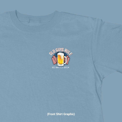 Old Guys Rule - Red White & Brew - Stone Blue T-Shirt - Front Graphic