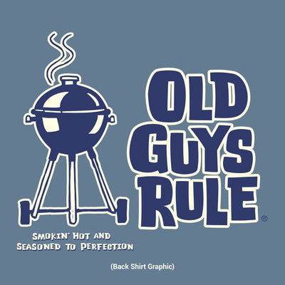 Old Guys Rule - Smokin' Hot and Seasoned to Perfection - Lake T-Shirt - Back Design
