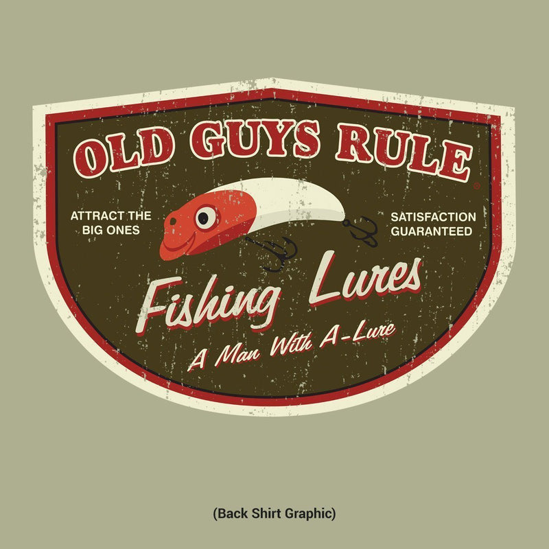 Old Guys Rule - T-Shirt - Man with A Lure - Cactus - Main View