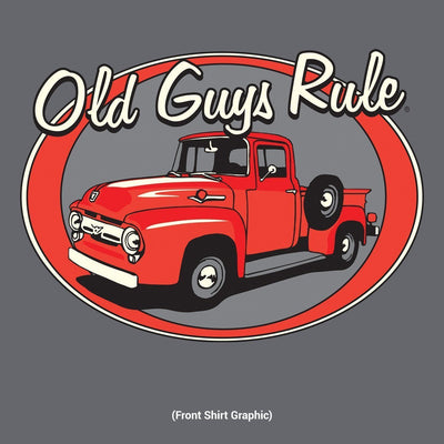 Old Guys Rule - Red Truck - Don't Make'em Like They Used To - Charcoal T-Shirt - Front Design