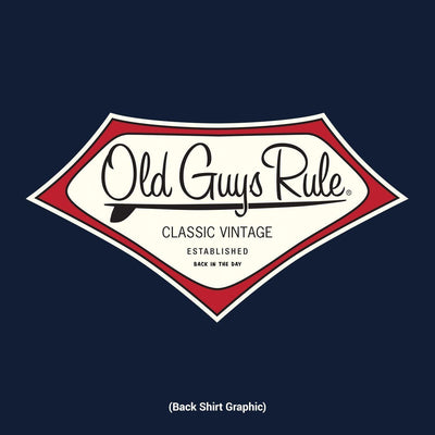 Old Guys Rule - Classic Vintage - Back In The Day - Navy T-Shirt - Back Design